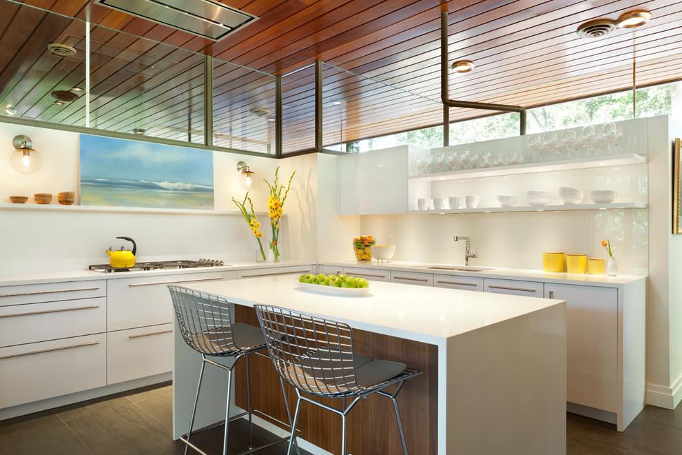 CODE Artic White Glossy Laminate and Cinnamon Walnut Matte Wood Kitchen Remodel