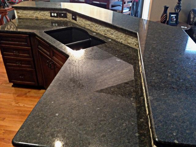 Coffee Brown Granite Transitional Kitchen Kansas