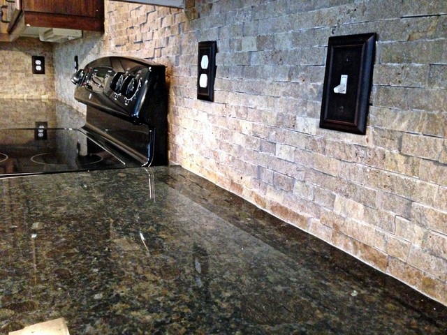 coffee brown granite contemporary kitchen kansas