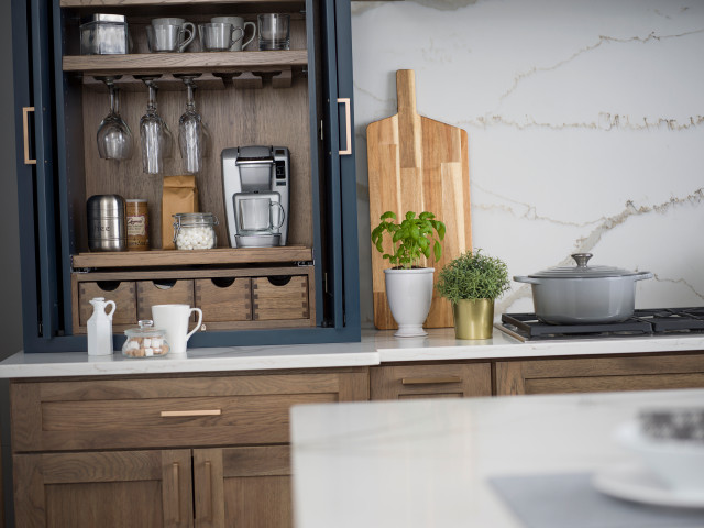 Coffee Station Cabinet Beverage Center Larder In A Blue Modern Farmhouse Kitch Country Kitchen Boston By Dura Supreme Cabinetry Houzz Au