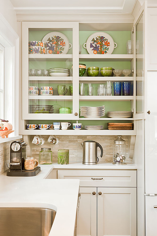 Glass front kitchen cabinets for Kitchen cabinets houzz