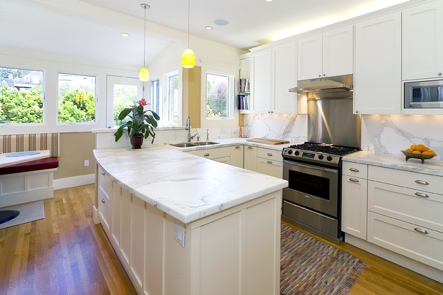 Traditional Kitchen Idea In San Francisco With Marble Countertops And  Marble Backsplash