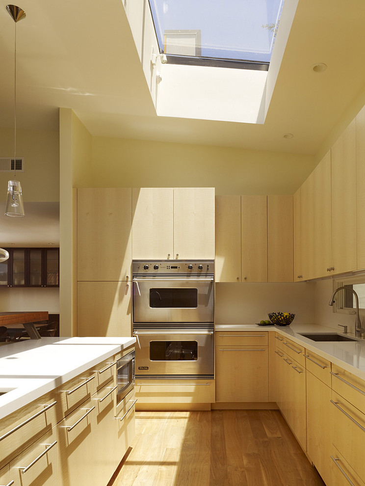 Inspiration for a modern kitchen remodel in San Francisco with stainless steel appliances, an undermount sink, flat-panel cabinets and light wood cabinets