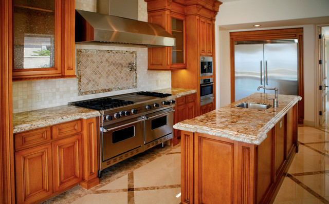 Colonial Cream Granite Countertops Traditional Kitchen