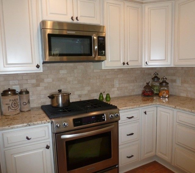 Granite Kitchen Countertops With Backsplash: Colonial Gold Granite Countertop With Travertine
