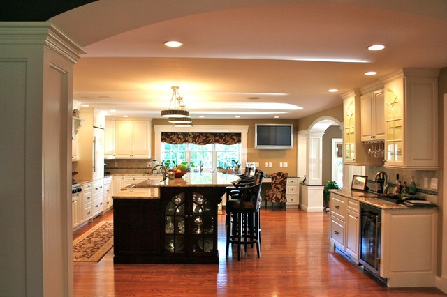 Colonial kitchen and great room addition traditional for Great room addition plans