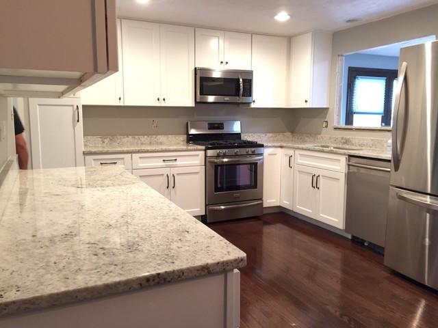 Colonial White Granite Kitchen Transitional Kitchen