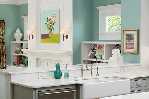 Colorful and Cheery Kitchen and Living Room, Wythe Blue by Benjamin Moore