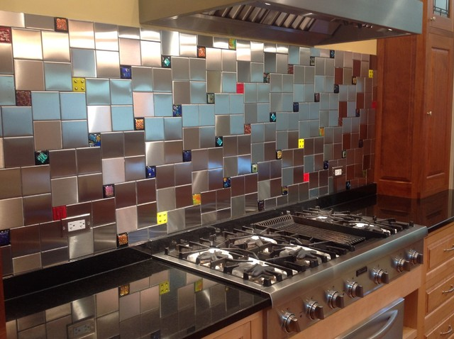 Colorful Glass Accent Tiles in Backsplash by Uneek Glass Fusions  contemporary-kitchen