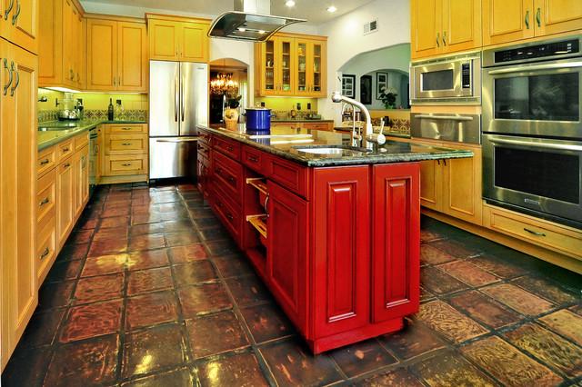 Colorful Modern Spanish Kitchen Mediterranean Kitchen