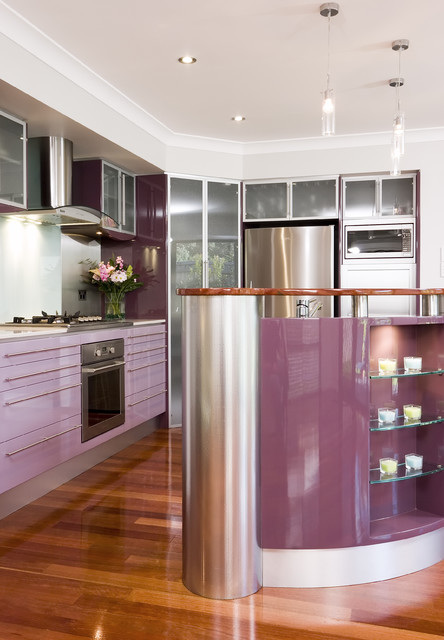 Comtempory Purple contemporary kitchen