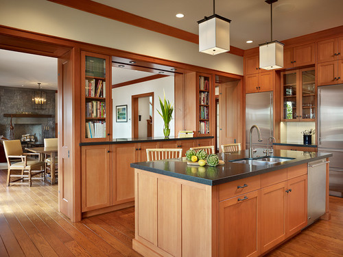what types of wood were used for the kitchen cabinets and floors