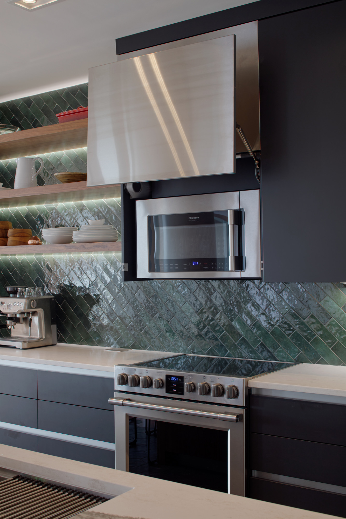 Concealed microwave hood with automatic door opener