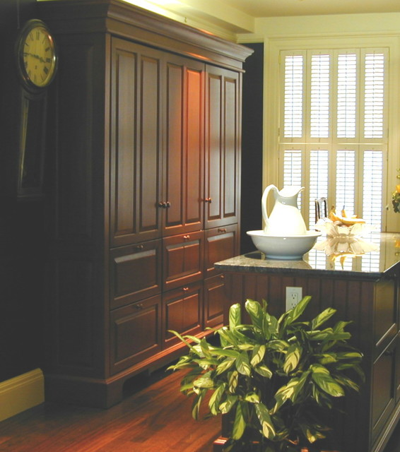 Concealed Refrigerator / Freezer / Pantry Armoire Traditional Kitchen
