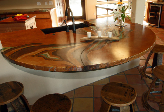 Concrete counter traditional-kitchen