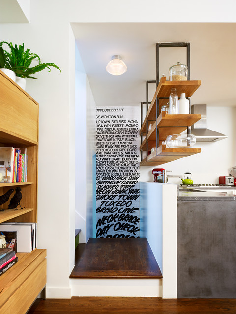 Concrete Counters with Suspended Shelving above contemporary-kitchen
