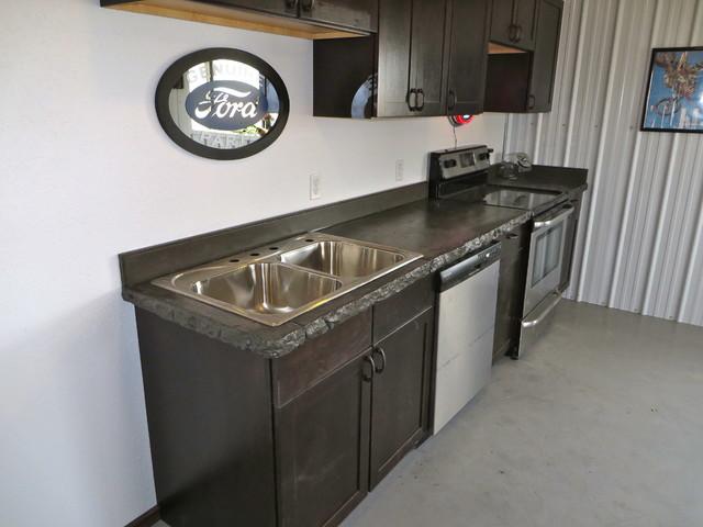Countertop Shop : Concrete Countertop Shop break room rustic-kitchen