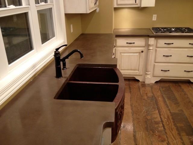 Concrete Countertops U0026 Backsplash By Burco Surface U0026 Decor  Traditional Kitchen