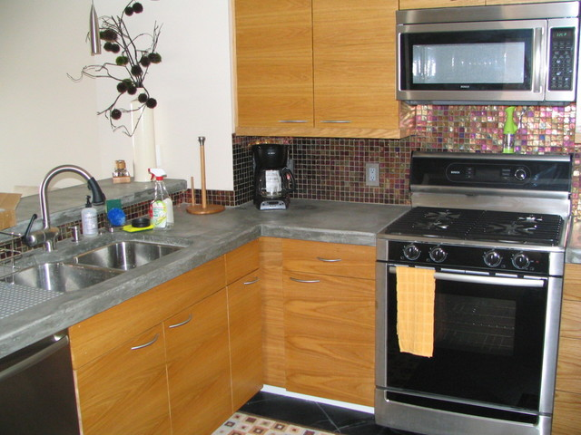 Concrete countertops, stainless steel sink - Contemporary ...