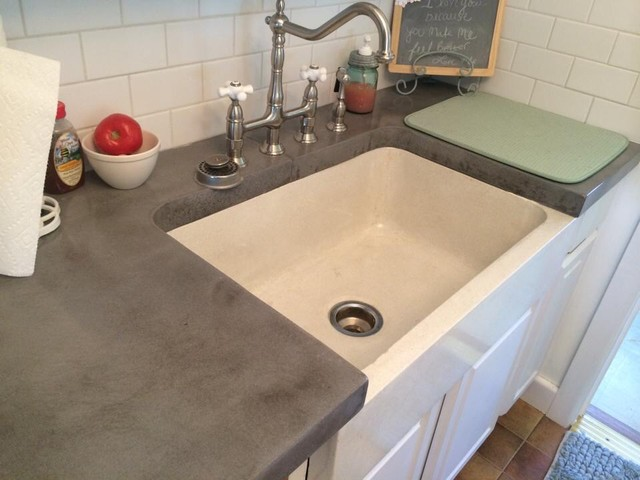 Concrete Farmhouse Sink And Cool Grey Countertops
