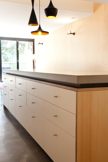Concrete Island Benchtop With Shadowline Contemporary