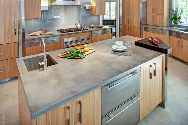 Concrete Kitchen Countertop and Island Contemporary Kitchen