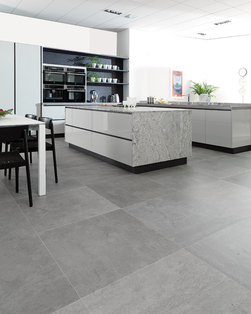 concrete look tiles - rodano silver - industrial - kitchen - perth