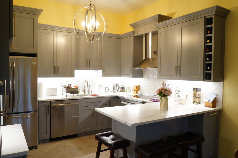 Condo Kitchen In Gray Modern Kitchen Boston By Taylor Made Cabinets Leominster Ma