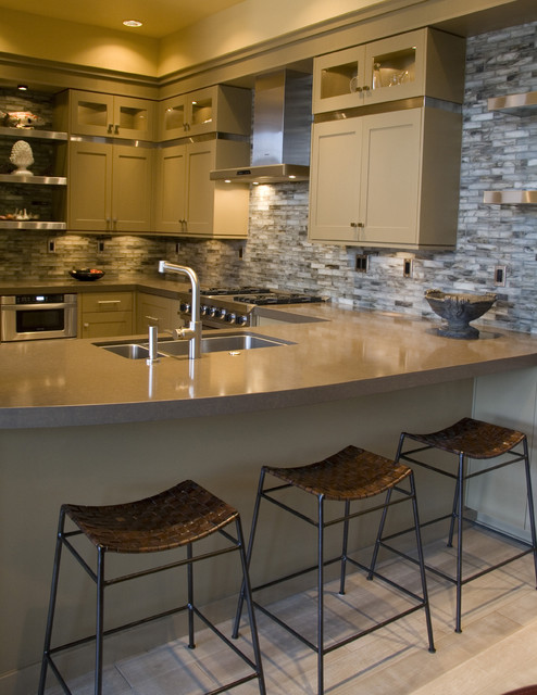 condo kitchen with painted cabinets contemporary-kitchen
