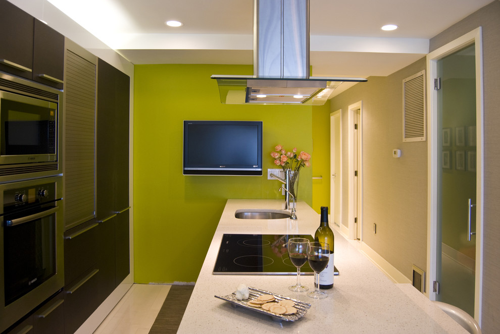 Kitchen - contemporary galley kitchen idea in DC Metro with a single-bowl sink