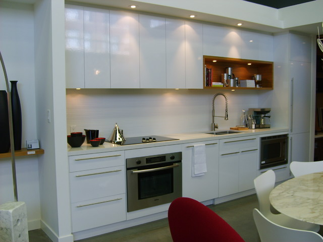 Condo White High Gloss Contemporary Kitchen