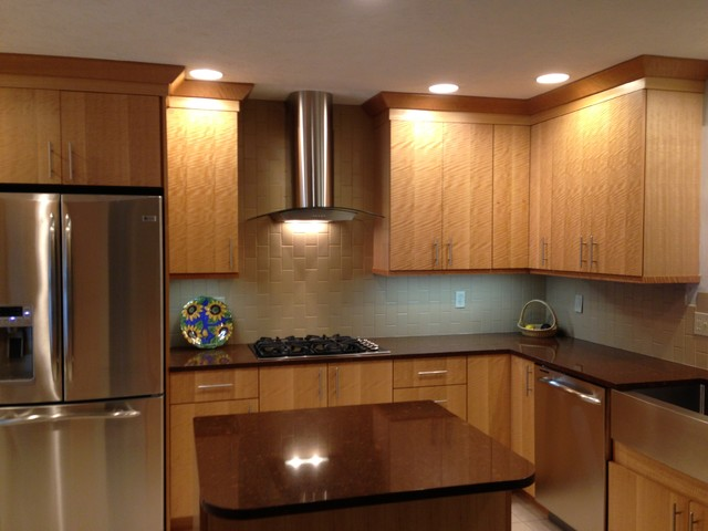 Contemporary Anigre Exotic Wood Kitchen Contemporary