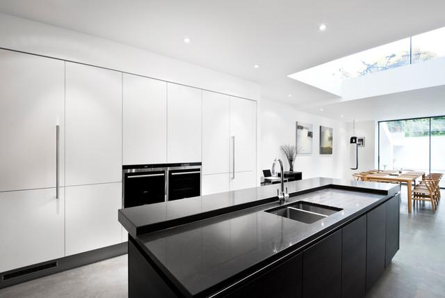 Contemporary Black & White German Kitchen - Contemporary - Kitchen ...