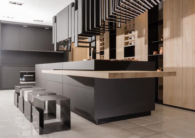 contemporary black matte kitchen moderne cuisine washington d c par rehau cabinet doors. Black Bedroom Furniture Sets. Home Design Ideas