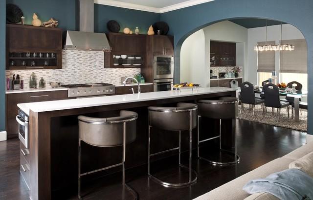 Contemporary blue green kitchen contemporary kitchen for Modern green kitchen designs