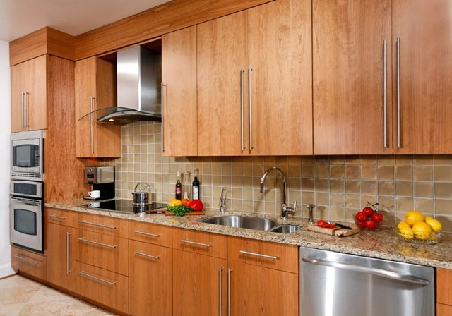 Contemporary Cherry Flat Panel Kitchen Asian Kitchen