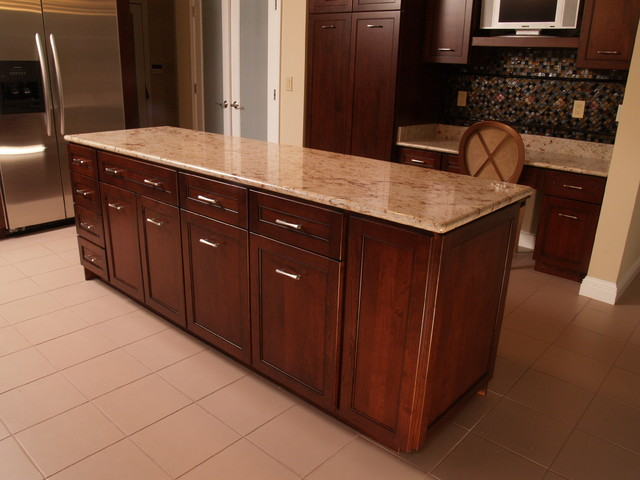 Contemporary cherry kitchen with shaker style and granite for Shaker style kitchen with granite