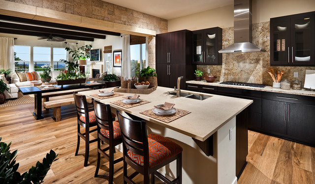 Superb Stone Accent Wall Kitchen Transitional Kitchen