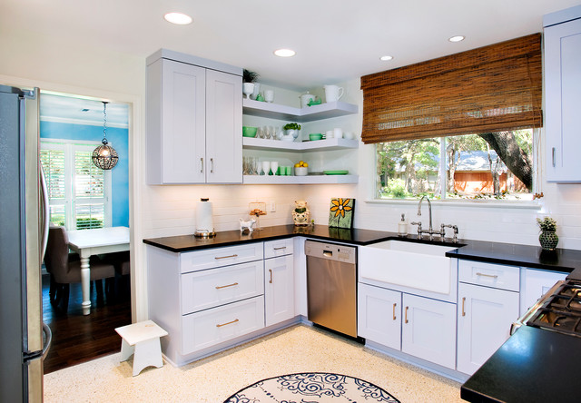 Contemporary Cool Grey Kitchen - Floating Shelves ...