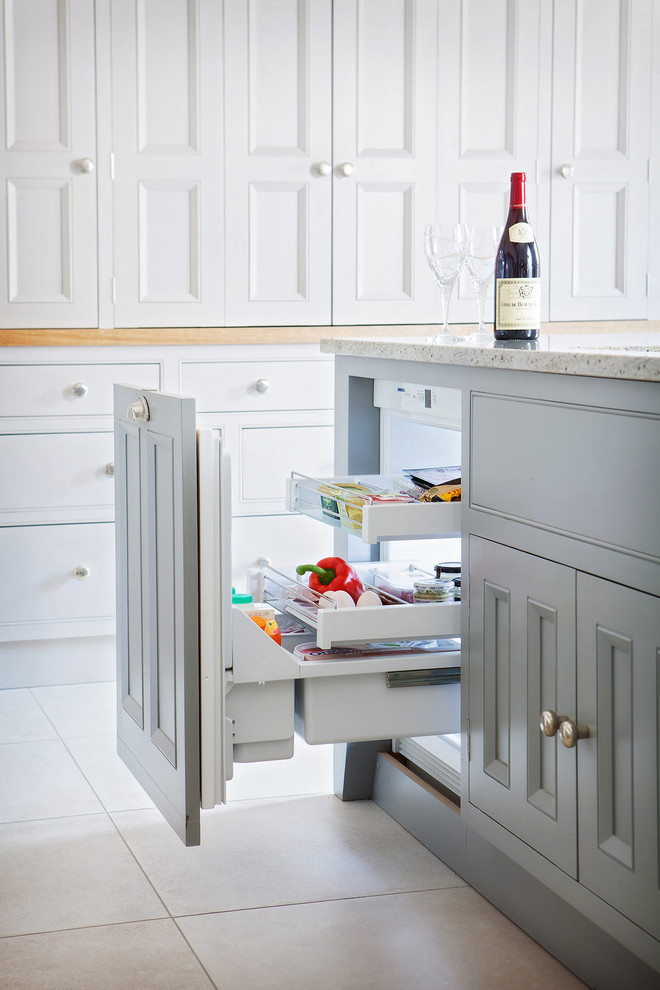 Trendy kitchen photo in Other with beaded inset cabinets and gray cabinets