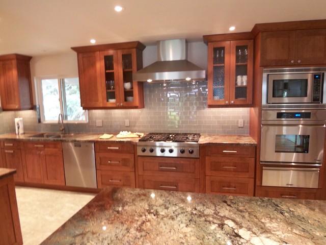 Contemporary craftsman cherry kitchen modern kitchen for Houzz contemporary kitchens