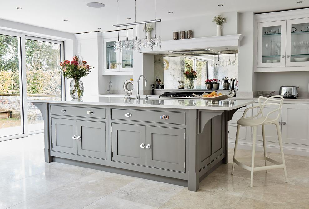 Contemporary Grey Kitchen - Transitional - Kitchen ...