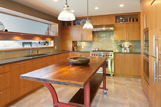 Example Of A Trendy U Shaped Enclosed Kitchen Design In Vancouver With A  Double