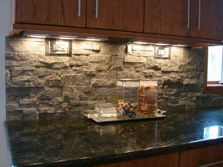 Stacked Stone Backsplash - Contemporary - Kitchen ...