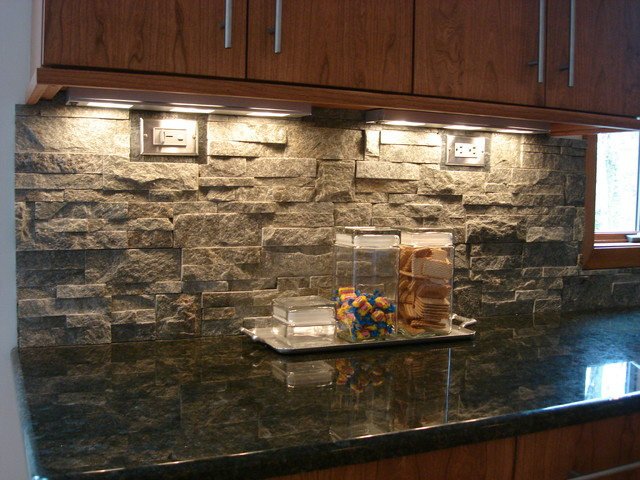 Stacked Stone Backsplash contemporary-kitchen