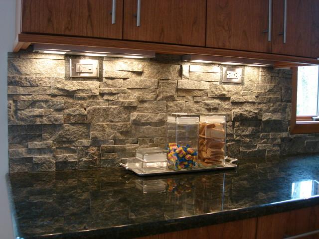 Stacked Stone Backsplash - Contemporary - Kitchen ...