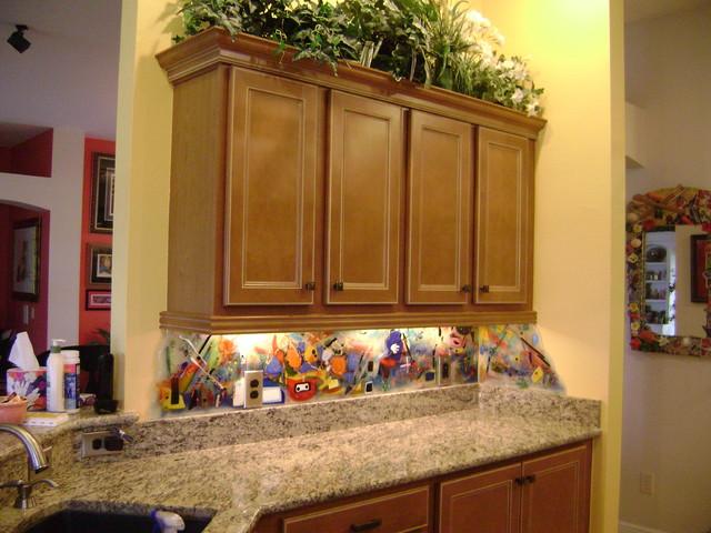 Contemporary Kitchen Backsplash And Murals Eclectic Kitchen Orlando By Designer Glass