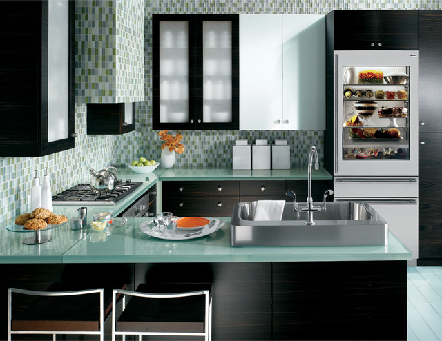 Contemporary kitchen - Blue+green glass/GE Monogram ...