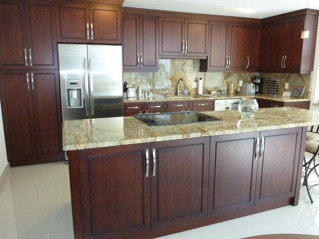 Contemporary Kitchen Cabinetry Cherry Brown Stain FinishContemporary Kitchen, Miami