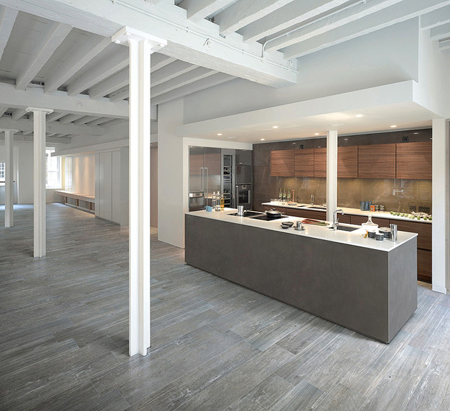 olde barn wood porcelaintile contemporary kitchen - Porcelain Tile Restaurant 2015